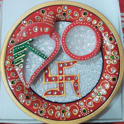 "9"" Round Ganesha Pooja Thali"
