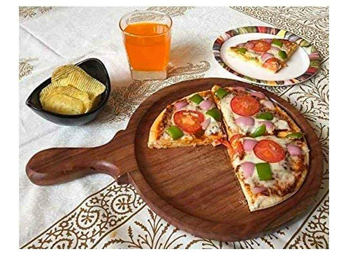Wooden pizza plater