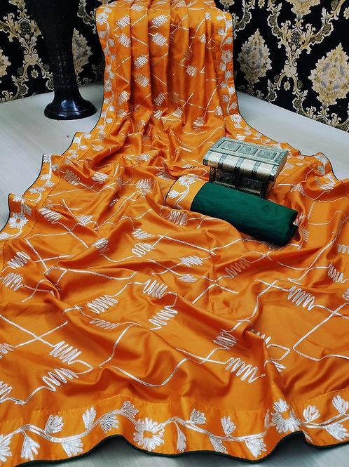 Heavy Dola Silk with Full Saree Heavy GOTTA RIBBEN work