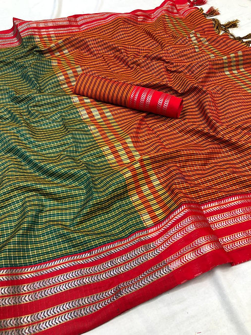 COTTON SILK DESIGN & JEQUARED WEAVING WITH JACQURD BLOUSE