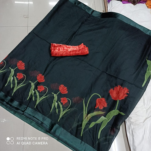 multi flowers saree for women