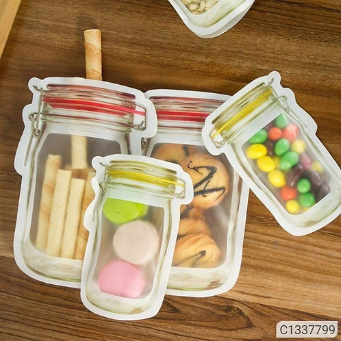 Storage Bag - Jar Shape Reusable Food Storage Snack Bags ( Pack of 10 )