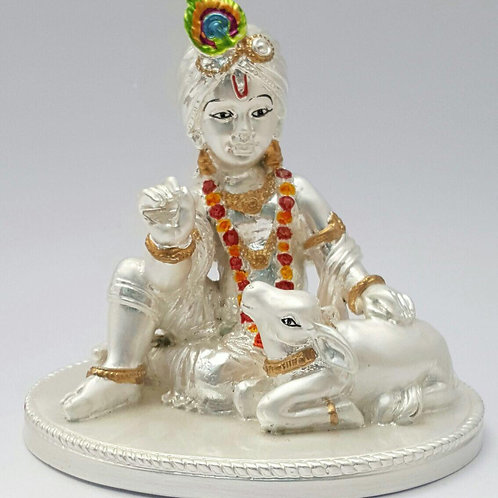 999 Silver Plated Antique Matt Finish Krishna with Cow In Velvet Box