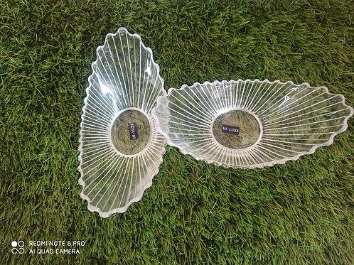 Glass Two pieces serving bowl set