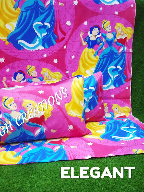 ELEGANT CARTOON DOUBLE BEDSHEET WITH TWO PILLOWS