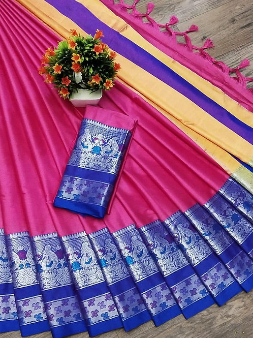 Silver zari Designer soft cotton silk jacquard designer saree