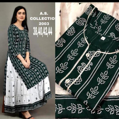 Cotton printed kurti with gota work and Cotton printed skirt with lace work