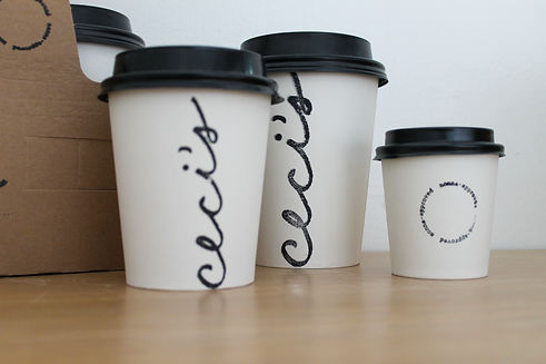 different size coffee cups on counter