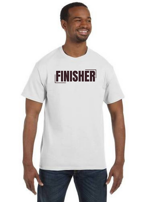 """""""FINISHER"""" White Unisex T-Shirt w/ Brown Letters"""