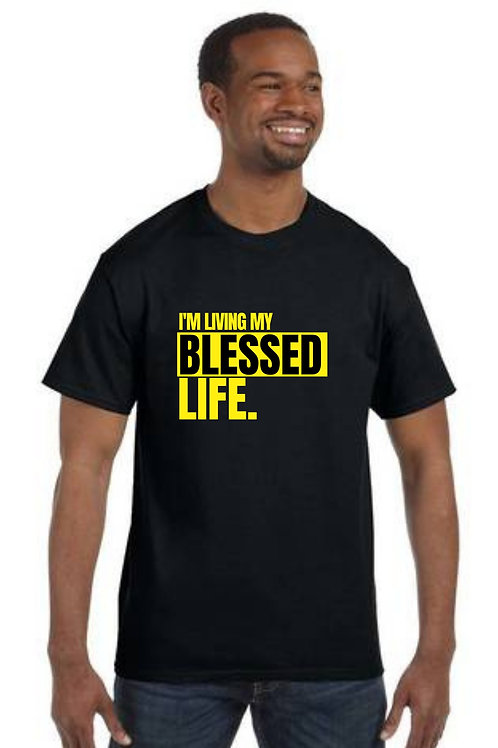 """""""I'm Living My Blessed Life"""" Black Unisex T-Shirt w/ Neon Letters"""