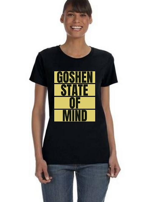 """Goshen State Of Mind"" Women's Black T-Shirt"