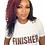 """Thumbnail: """"FINISHER"""" White Unisex T-Shirt w/ Brown Letters"""