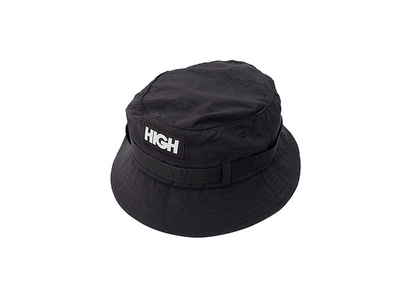 strapped bucket hat high black
