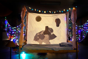 Een hemelbed in  een donkere kamer. Het bed hangt vol lichtjes. Een schaduw staat achter de achterwand van het bed.
