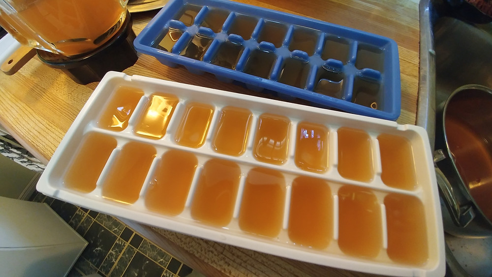 Freeze homemade veggie broth in ice cube trays for longer lasting broth!