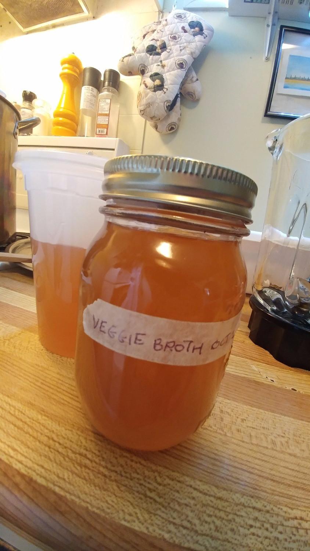 Homemade veggie broth will keep in the fridge for seven days