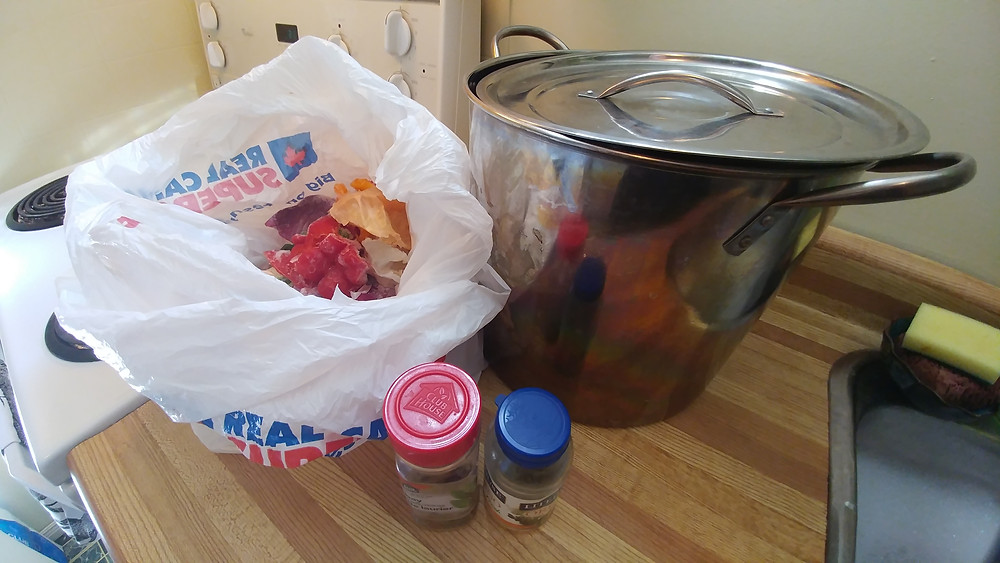 Items needed to make homemade vegetable broth