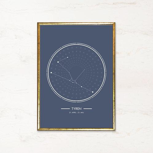 Tyren - Plakat af stjernetegn