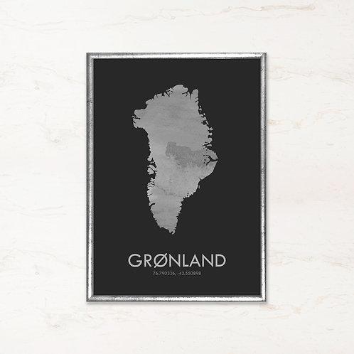 Grønland plakat i koksgrå farve - Plakater af danske øer fra IMAGI.dk