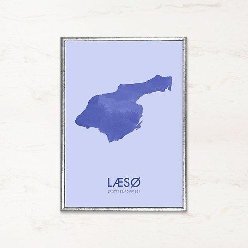 Læsø plakat i blå farve - Plakater af danske øer fra IMAGI.dk
