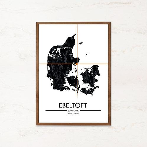 Ebeltoft plakat - Danmarkskort fra IMAGI.dk