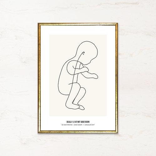 Fødselstavle med baby - Plakat