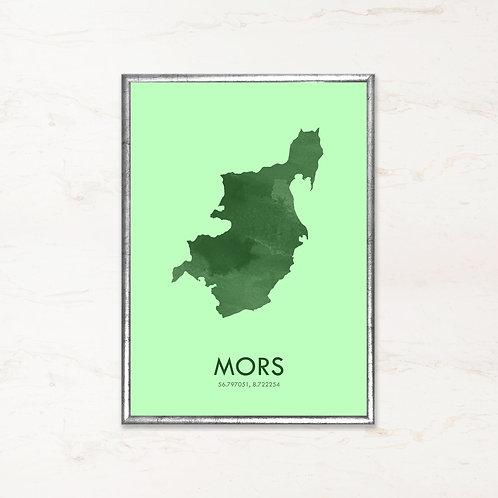 Mors plakat i grøn farve - Plakater af danske øer fra IMAGI.dk