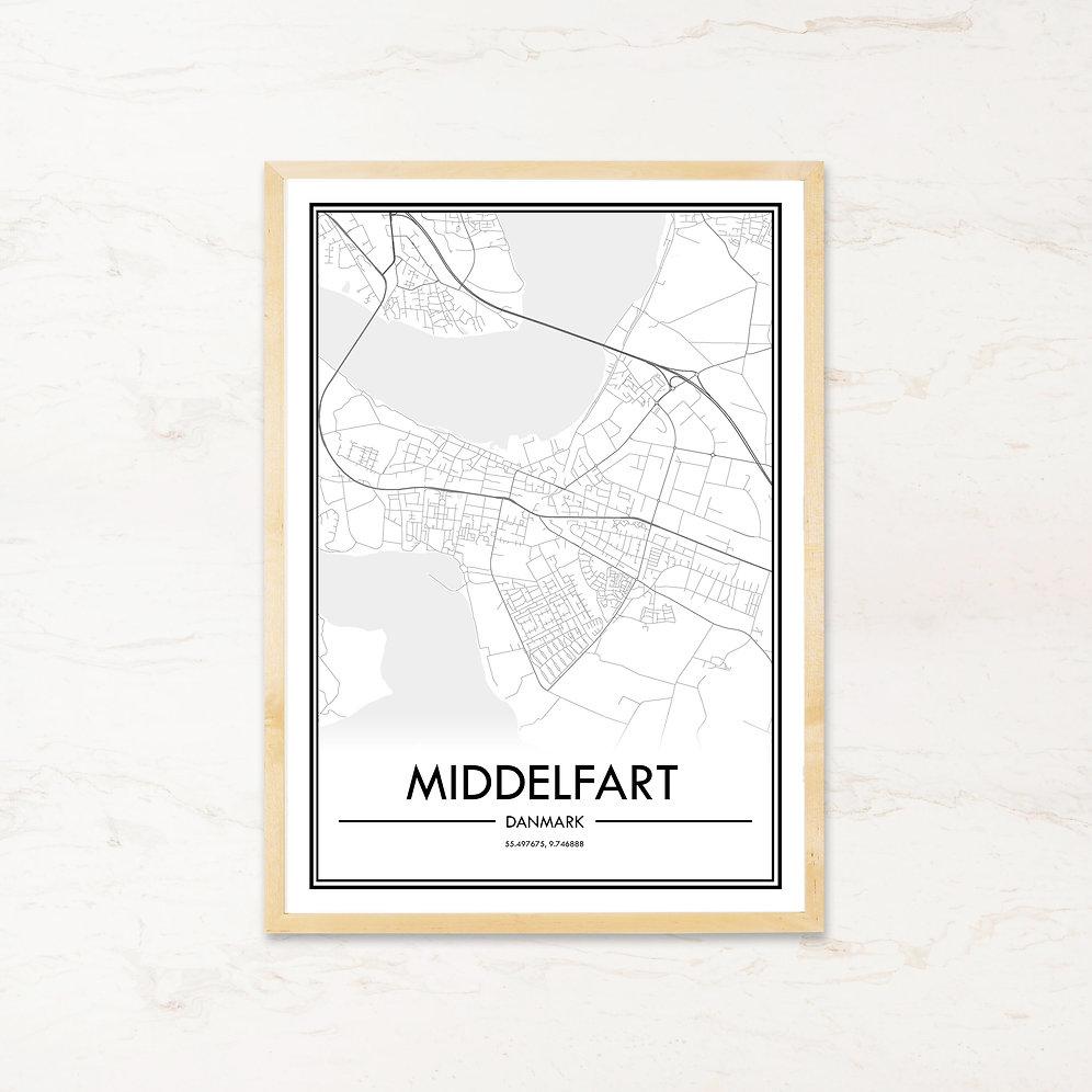 Middelfart Plakat Af Bykort Kob Billige Byplakater Pa Imagi Dk