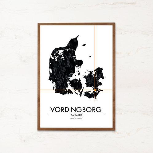 Vordingborg plakat | Plakater med Danmarkskort fra IMAGI.dk