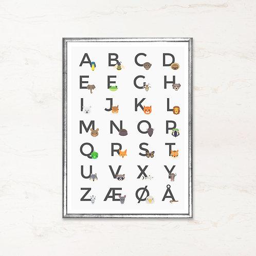 Alfabet plakat - Grå