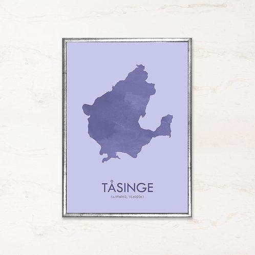 Tåsinge plakat i blå farve - Plakater af danske øer fra IMAGI.dk