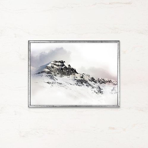 Snedækkede Bjerge - Plakat af landskabet