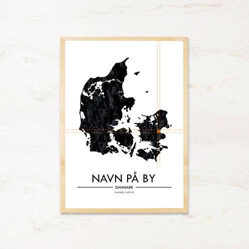 Danmarkskort med by - Unik