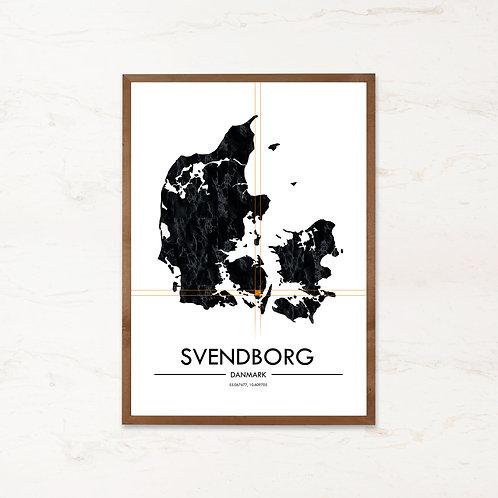Svendborg plakat | Plakater med Danmarkskort fra IMAGI.dk
