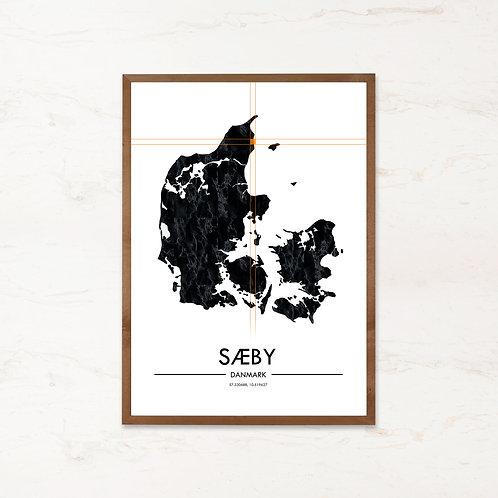 Sæby plakat   Plakater med Danmarkskort fra IMAGI.dk
