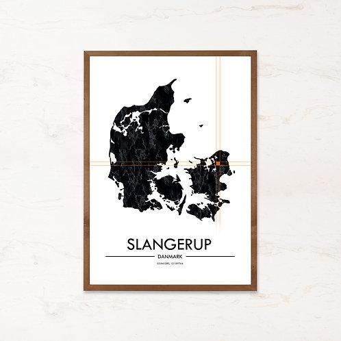 Slangerup plakat   Plakater med Danmarkskort fra IMAGI.dk