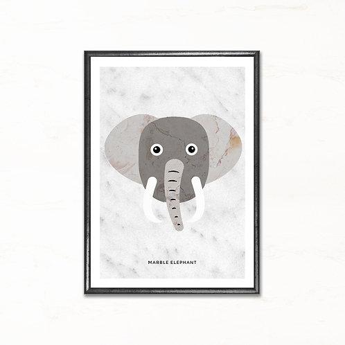 Elefanten - plakat med marmormotiv