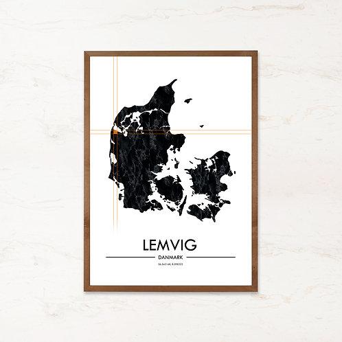 Lemvig plakat | Plakater med Danmarkskort fra IMAGI.dk
