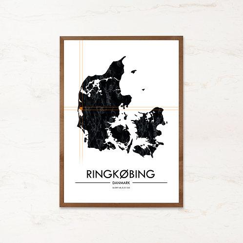 Ringkøbing plakat | Plakater med Danmarkskort fra IMAGI.dk
