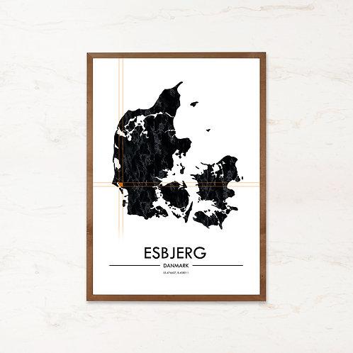 Esbjerg plakat - Danmarkskort fra IMAGI.dk