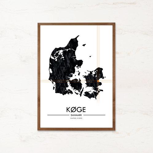 Køge plakat | Plakater med Danmarkskort fra IMAGI.dk