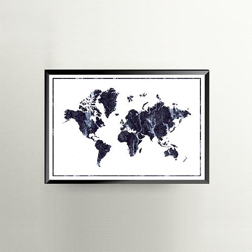 Verden i marmor - blå