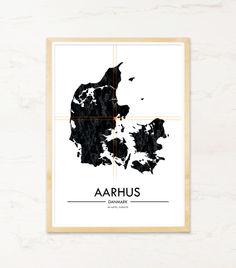 Plakat med Aarhus i Danmarkskort