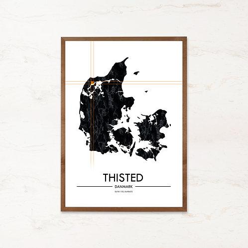 Thisted plakat | Plakater med Danmarkskort fra IMAGI.dk