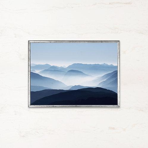 De Blå Bjerge - Plakat af landskabet