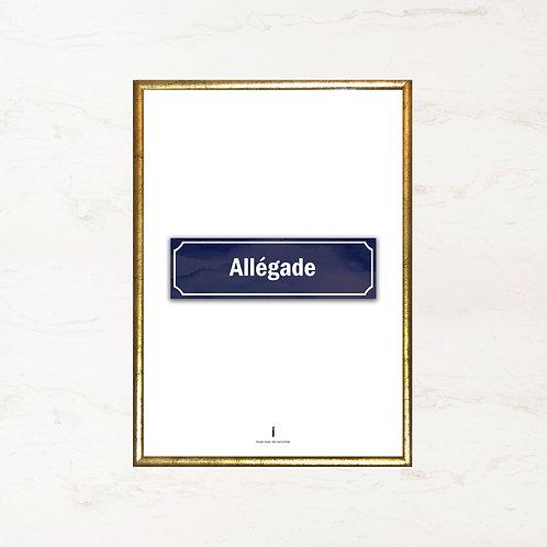 Allégade - Plakat med gadenavn