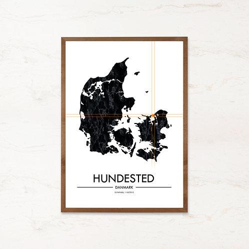 Hundested plakat | Plakater med Danmarkskort fra IMAGI.dk