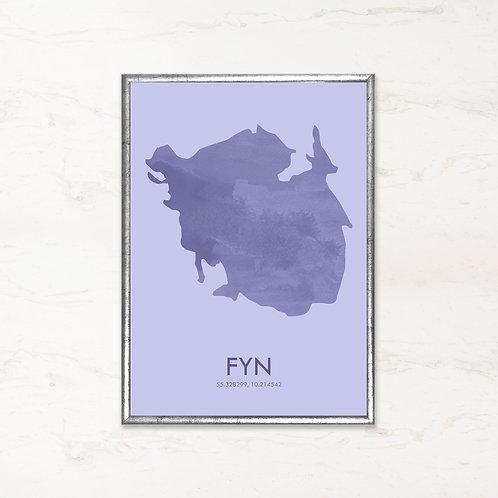 Fyn plakat i blå farve - Plakater af danske øer fra IMAGI.dk