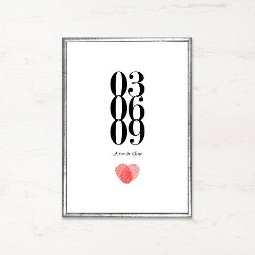 Bryllupsplakat med navn og dato