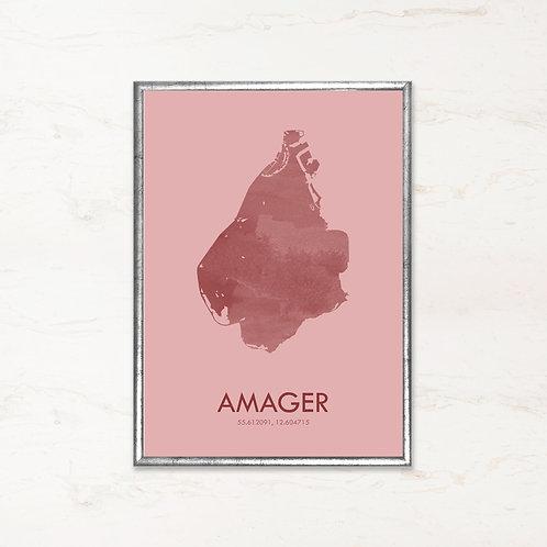Amager plakat i pink farve - Plakater af danske øer fra IMAGI.dk